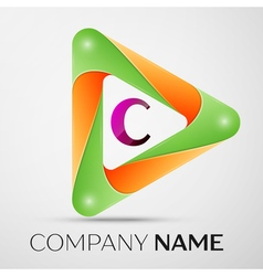 Letter C logo symbol in the colorful triangle on vector