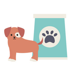 little dog adorable with paperbag and footprint vector image