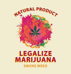 Marijuana banner cannabis leaf on bright spots vector