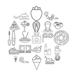 masquerade ball icons set outline style vector image