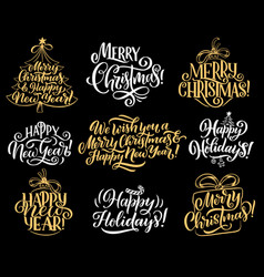 Merry christmas holiday greeting lettering vector
