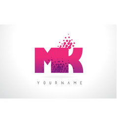 Mk m k letter logo with pink purple color and vector