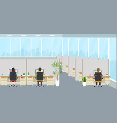 modern office interior with employees office vector image