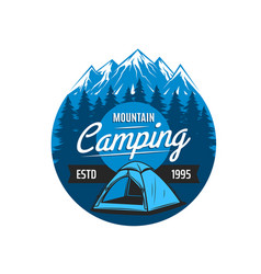 mountain camping icon emblem round label vector image