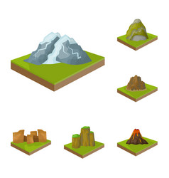 mountains massive cartoon icons in set collection vector image