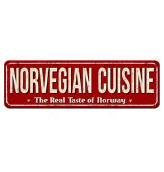 Norvegian cuisine vintage rusty metal sign vector