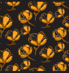 orange lace flowers seamless pattern on vector image