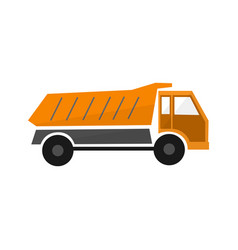 Orange truck dump or lorry in flat design types vector