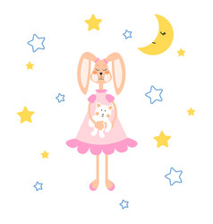Pajamas with tilda bunny bear plush vector