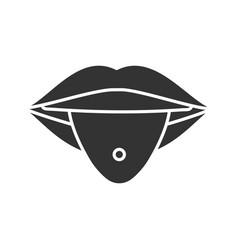 pierced tongue glyph icon vector image