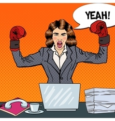 Pop art business woman in boxing gloves vector