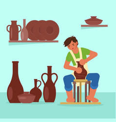 Potter making ceramic pot flat vector