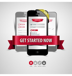 register and login from your smartphone vector image