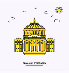 Romanian athenaeum monument poster template world vector