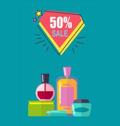 sale -50 off cosmetics set vector image