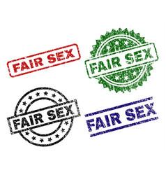 scratched textured fair sex stamp seals vector image