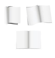 Set 3 opened magazines with blank pages vector