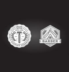 set barber shop logo design vintage label vector image