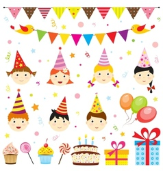 Set birthday party elements with cute kids vector