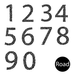 Set number asphalt texture vector image