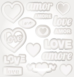 set of bubbles stickers labels tags shape of heart vector image