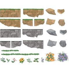 Set of garden plants flowers and stones vector