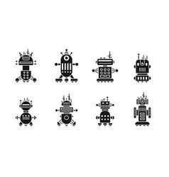 set robot icons vector image