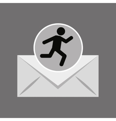 Sihouette man running email vector