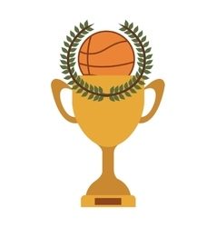 Silhouette colorful trophy cup of basketball vector