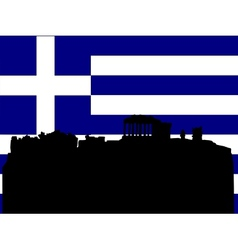 silhouette of athens vector image