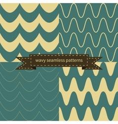 simple retro wavy seamless patterns vector image