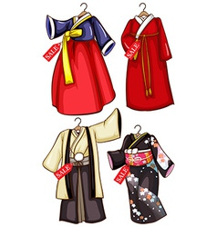 Simple sketches of the Asian costumes on sale vector