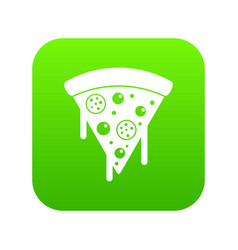 slice of pizza with salami melted cheese icon vector image