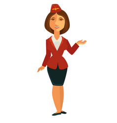 Smiling stewardess in uniform vector