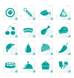 stylized different kind of food icons vector image