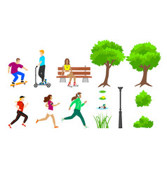 summer city park elements set vector image