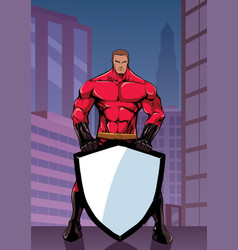 superhero holding shield in city vertical vector image