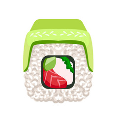 Sushi roll with avocado and salmon colorful vector