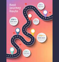the best journey route road trip and journey vector image