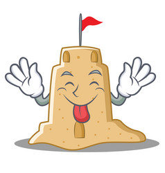 Tongue out sandcastle character cartoon style vector