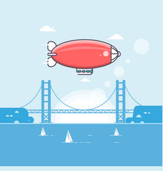 Travel time airship in sky with clouds vector