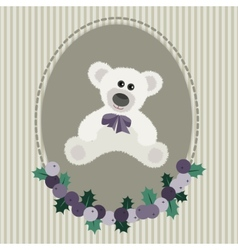 Vintage greeting card with white bear vector image
