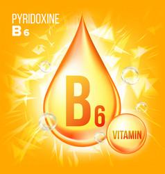 vitamin b6 pyridoxine vitamin gold oil vector image