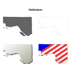 Wahkiakum Map Icon Set vector