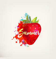 watercolor card with strawberry vector image
