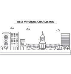West virginia charleston architecture line vector