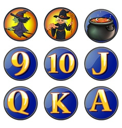 Witch and letters on round badges vector image