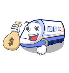 With money bag shinkansen train in shape vector