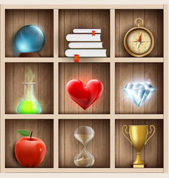 wooden shelves with magic and wizard items vector image
