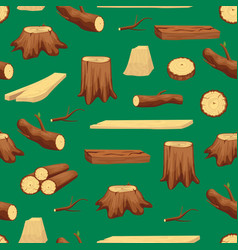 wooden trunk materials and firewood seamless vector image